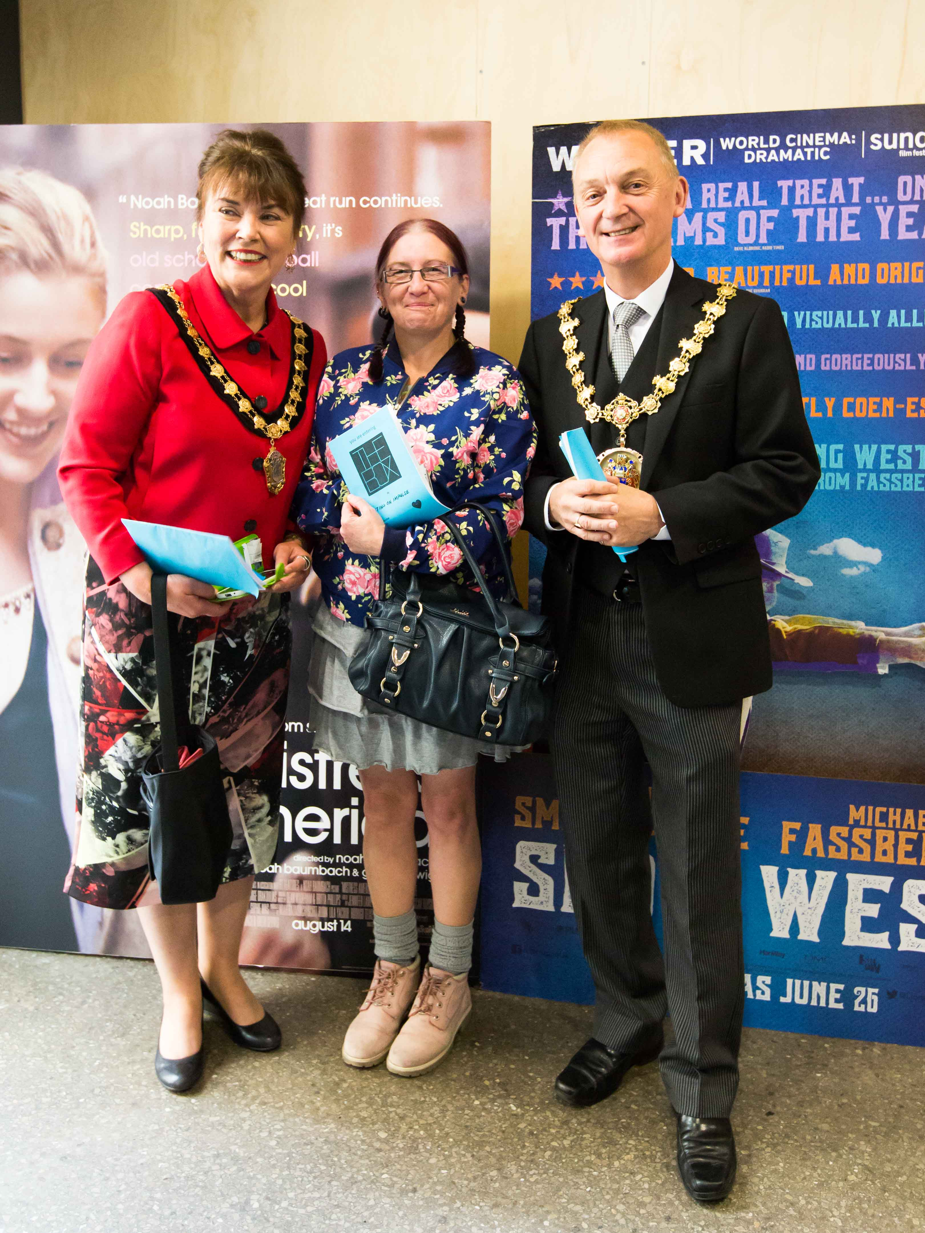 Mayor and Mayoress of Salford with actor Vicky Wilson, photo by Mike Browne