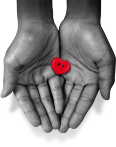 Outstretched hands gently holding Acting on Impulse Small Logo