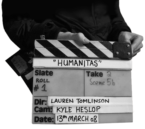 Take 2 Board from filming of Humanitas