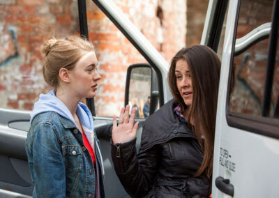Brooke and Amy at the soup van - 173
